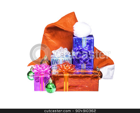 Chistmas gift box with Santa Claus red hat isolated stock photo, Chistmas gift box with Santa Claus red hat isolated on white with clipping path by manusy