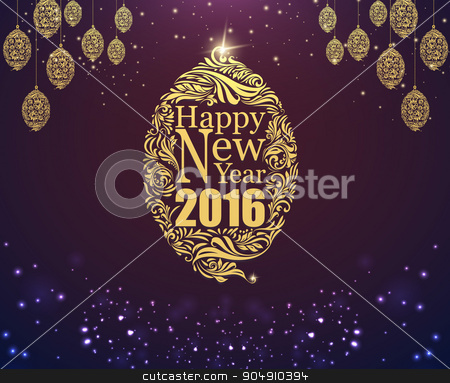 newyear154 stock vector clipart, Happy new year and glod ball purple classic background by Khanong Wiboolkul