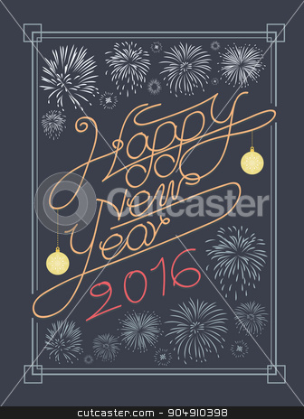 Happy new year typography and fire work vector design stock vector clipart, Happy new year typography and fire work vector design by Khanong Wiboolkul