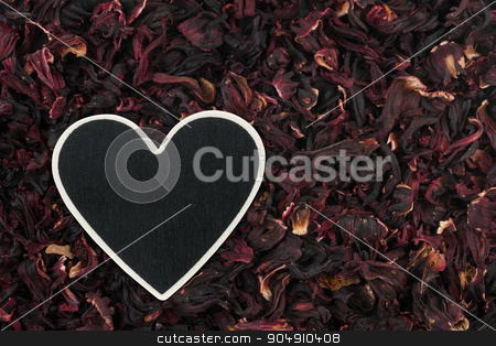 Heart pointer, the price tag lies on hibiscus stock photo, Heart pointer, the price tag lies on hibiscus,  with space for your text by alekleks
