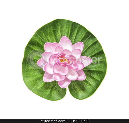 Pink artificial lotus  stock photo, Pink artificial lotus with green leaf isolated on white with clipping path by manusy