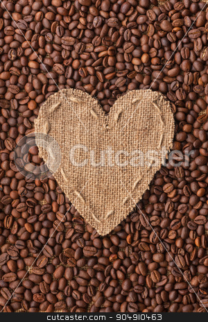 Frame in the shape of heart made of burlap with coffee beans stock photo, Frame in the shape of heart made of burlap with coffee beans, with space for your text by alekleks