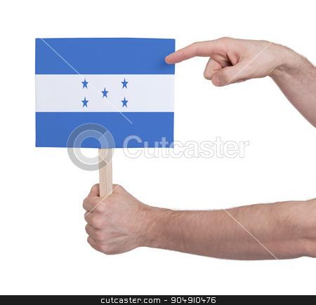 Hand holding small card - Flag of Honduras stock photo, Hand holding small card, isolated on white - Flag of Honduras by michaklootwijk