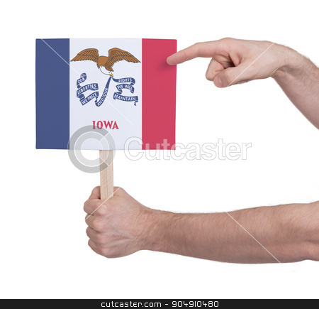 Hand holding small card - Flag of Iowa stock photo, Hand holding small card, isolated on white - Flag of Iowa by michaklootwijk