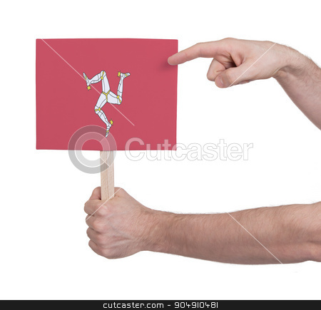 Hand holding small card - Flag of Isle of man stock photo, Hand holding small card, isolated on white - Flag of Isle of man by michaklootwijk