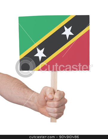 Hand holding small card - Flag of Saint Kitts and Nevis stock photo, Hand holding small card, isolated on white - Flag of Saint Kitts and Nevis by michaklootwijk