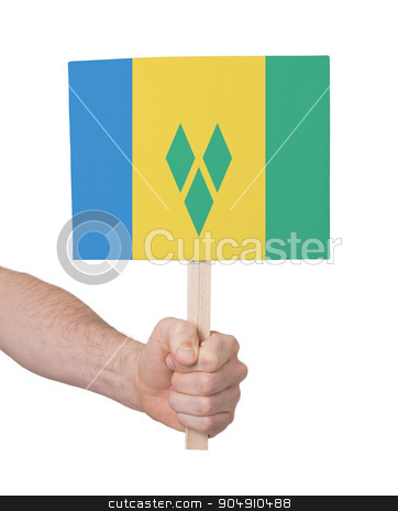 Hand holding small card - Flag of Saint Vincent and the Grenadin stock photo, Hand holding small card, isolated on white - Flag of Saint Vincent and the Grenadines by michaklootwijk