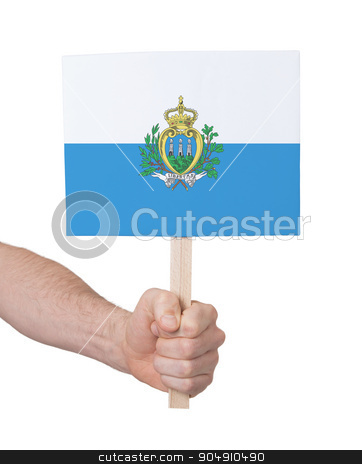 Hand holding small card - Flag of San Marino stock photo, Hand holding small card, isolated on white - Flag of San Marino by michaklootwijk