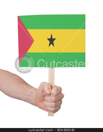 Hand holding small card - Flag of Sao Tome and Principe stock photo, Hand holding small card, isolated on white - Flag of Sao Tome and Principe by michaklootwijk