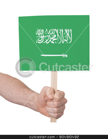 Hand holding small card - Flag of Saudi Arabia stock photo, Hand holding small card, isolated on white - Flag of Saudi Arabia by michaklootwijk
