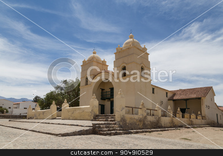 Molinos church on route 40 stock photo, Photograph of the church in the small town Molinos on route 40 in the Northwest of Argentina. by Oliver Foerstner