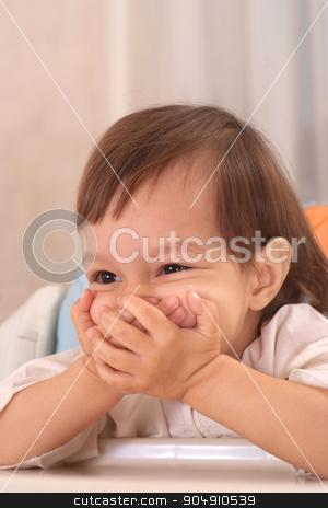 Portrait of  Beautiful little girl stock photo, Portrait of  happy little girl at home by Ruslan Huzau