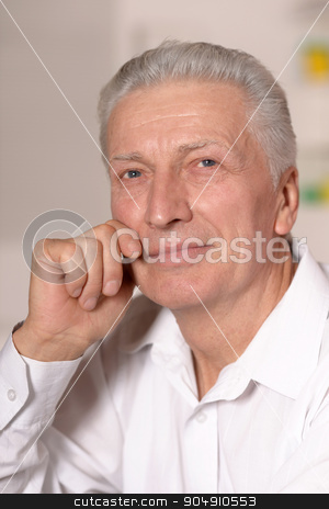 portrait of a senior man stock photo, Close-up portrait of a senior man thinking about something by Ruslan Huzau