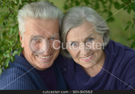 Happy senior couple stock photo, Happy senior couple relaxing in autumn park by Ruslan Huzau