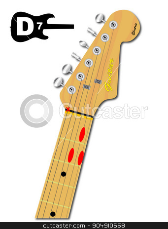 The Guitar Chord Of D Seven stock vector clipart, An electric guitar neck with the chord shape for D seventh indicated with red buttons by Kotto