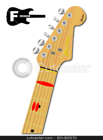 The Guitar Chord Of F Minor stock vector clipart, An electric guitar neck with the chord shape for F minor indicated with red buttons by Kotto