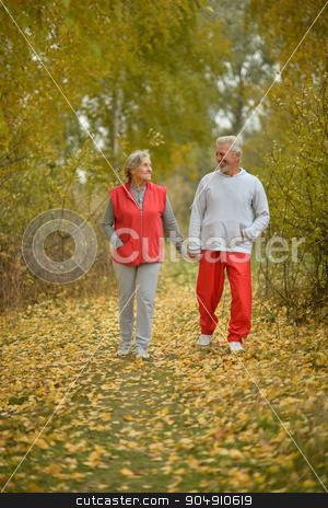 Happy fit senior couple stock photo, Happy fit senior couple  in autumn park by Ruslan Huzau