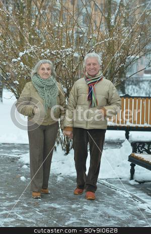 senior couple  at winter park stock photo, Happy senior couple at winter park outdoors by Ruslan Huzau