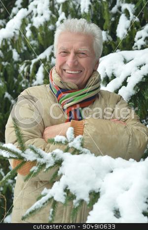 Senior man standing  in winter stock photo, Portrait of a senior man standing outdoor in winter by Ruslan Huzau