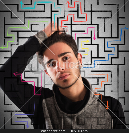Thoughtful teenager stock photo, Boy with thoughtful expression with maze background by Federico Caputo
