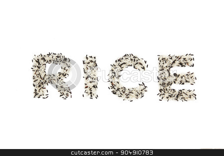 RICE letters from mix of black rice and white rice on white background stock photo, RICE letters from mix of black rice and white rice on white background by Kanakom