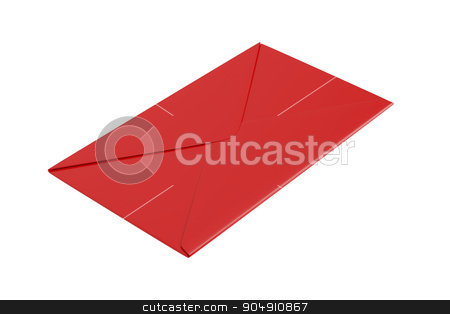Red envelope on white stock photo, Red envelope isolated on white background by Mile Atanasov