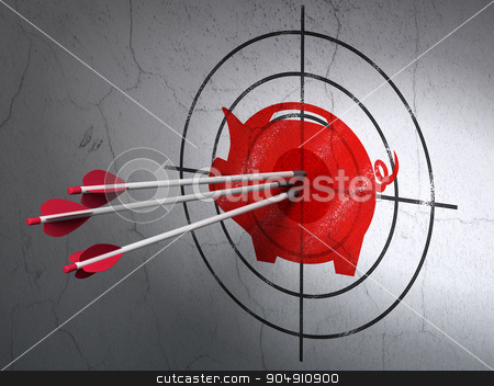 Currency concept: arrows in Money Box target on wall background stock photo, Success currency concept: arrows hitting the center of Red Money Box target on wall background by mkabakov