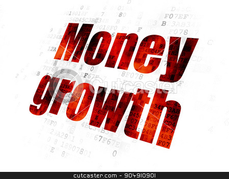 Money concept: Money Growth on Digital background stock photo, Money concept: Pixelated red text Money Growth on Digital background by mkabakov