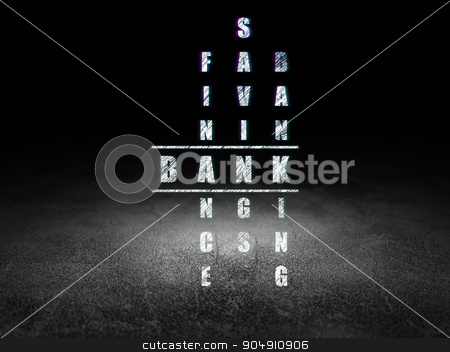 Banking concept: Bank in Crossword Puzzle stock photo, Banking concept: Glowing word Bank in solving Crossword Puzzle in grunge dark room with Dirty Floor, black background by mkabakov