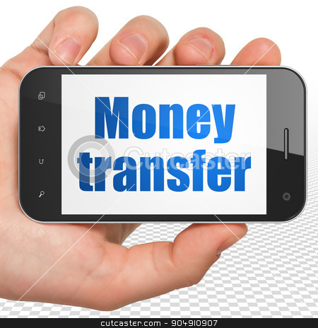 Currency concept: Hand Holding Smartphone with Money Transfer on display stock photo, Currency concept: Hand Holding Smartphone with blue text Money Transfer on display by mkabakov