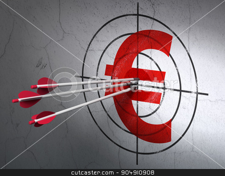 Currency concept: arrows in Euro target on wall background stock photo, Success currency concept: arrows hitting the center of Red Euro target on wall background by mkabakov