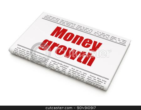Banking concept: newspaper headline Money Growth stock photo, Banking concept: newspaper headline Money Growth on White background, 3d render by mkabakov