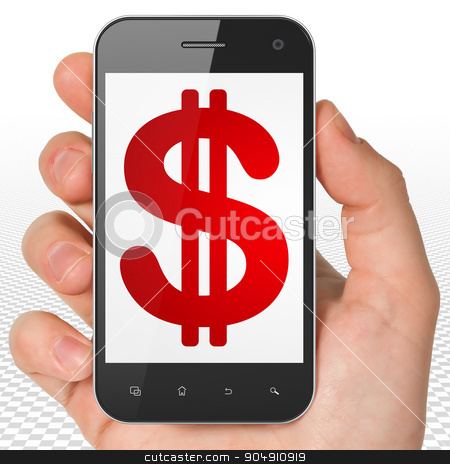 Banking concept: Hand Holding Smartphone with Dollar on display stock photo, Banking concept: Hand Holding Smartphone with red Dollar icon on display by mkabakov