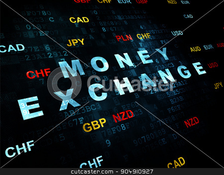 Banking concept: Money Exchange on Digital background stock photo, Banking concept: Pixelated blue text Money Exchange on Digital wall background with Currency by mkabakov
