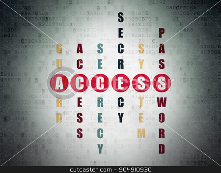 Protection concept: Access in Crossword Puzzle stock photo, Protection concept: Painted red word Access in solving Crossword Puzzle on Digital Paper background by mkabakov