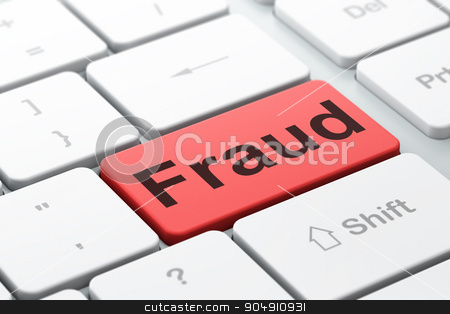 Protection concept: Fraud on computer keyboard background stock photo, Protection concept: computer keyboard with word Fraud, selected focus on enter button background, 3d render by mkabakov