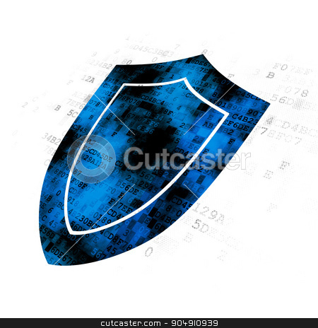 Safety concept: Shield on Digital background stock photo, Safety concept: Pixelated blue Shield icon on Digital background by mkabakov