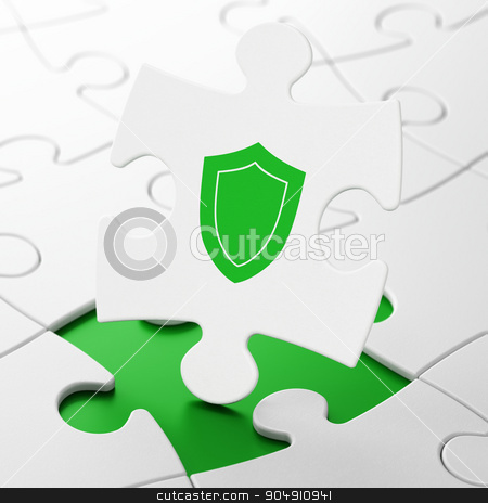 Security concept: Shield on puzzle background stock photo, Security concept: Shield on White puzzle pieces background, 3d render by mkabakov