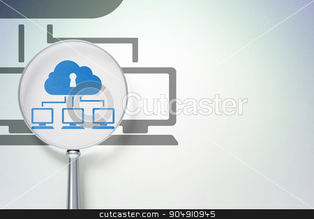 Safety concept:  Cloud Network with optical glass on digital background stock photo, Safety concept: magnifying optical glass with Cloud Network icon on digital background, empty copyspace for card, text, advertising by mkabakov