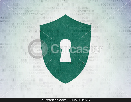 Privacy concept: Shield With Keyhole on Digital Paper background stock photo, Privacy concept: Painted green Shield With Keyhole icon on Digital Paper background by mkabakov