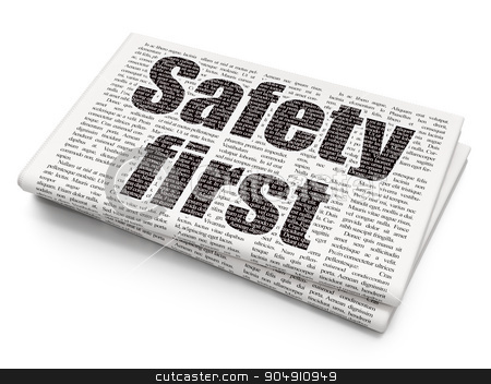 Protection concept: Safety First on Newspaper background stock photo, Protection concept: Pixelated black text Safety First on Newspaper background by mkabakov