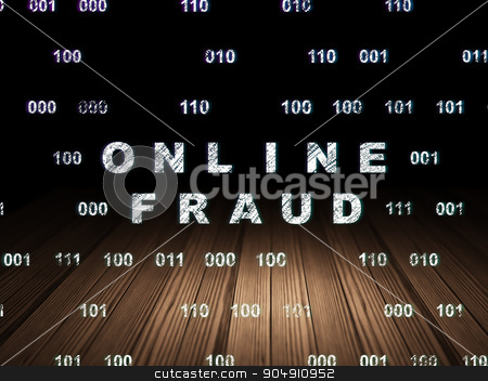 Safety concept: Online Fraud in grunge dark room stock photo, Safety concept: Glowing text Online Fraud in grunge dark room with Wooden Floor, black background with Binary Code by mkabakov