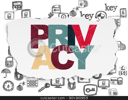 Security concept: Privacy on Torn Paper background stock photo, Security concept: Painted multicolor text Privacy on Torn Paper background with  Hand Drawn Security Icons by mkabakov