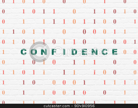 Finance concept: Confidence on wall background stock photo, Finance concept: Painted green text Confidence on White Brick wall background with Binary Code by mkabakov