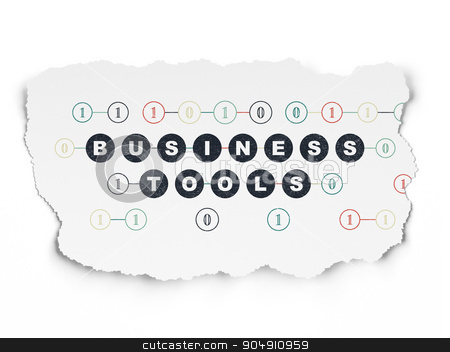Business concept: Business Tools on Torn Paper background stock photo, Business concept: Painted black text Business Tools on Torn Paper background with Scheme Of Binary Code by mkabakov