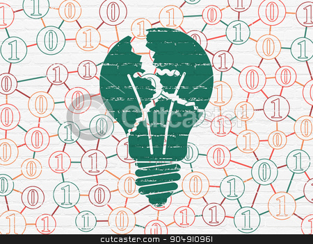Finance concept: Light Bulb on wall background stock photo, Finance concept: Painted green Light Bulb icon on White Brick wall background with Scheme Of Binary Code by mkabakov