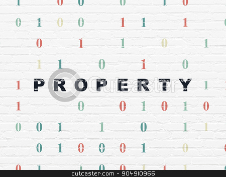 Business concept: Property on wall background stock photo, Business concept: Painted black text Property on White Brick wall background with Binary Code by mkabakov