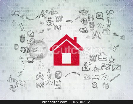 Finance concept: Home on Digital Paper background stock photo, Finance concept: Painted red Home icon on Digital Paper background with Scheme Of Hand Drawn Business Icons by mkabakov
