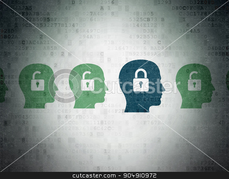 Finance concept: head with padlock icon on Digital Paper background stock photo, Finance concept: row of Painted green head with padlock icons around blue head with padlock icon on Digital Paper background by mkabakov