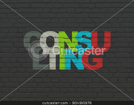 Business concept: Consulting on wall background stock photo, Business concept: Painted multicolor text Consulting on Black Brick wall background by mkabakov